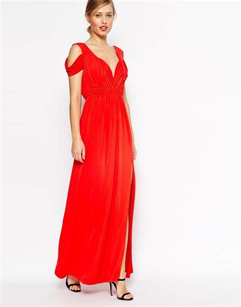 maxi drape dress asos wedding drape cold shoulder maxi dress elizabeth