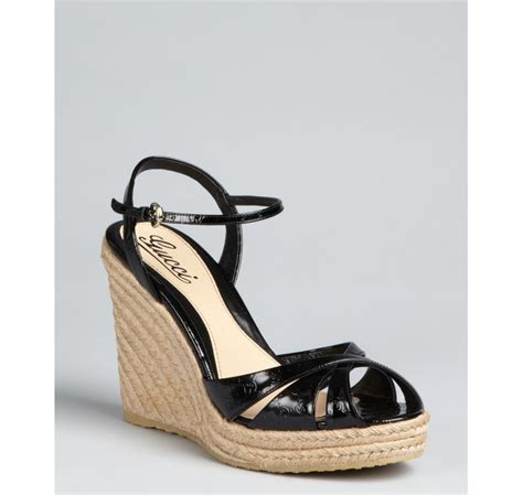 Wedges Louis Mote Hitam gucci black guccissima patent leather espadrille wedges in black lyst