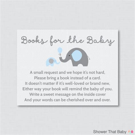 Baby Shower Invitations Books Instead Of Cards by Elephant Baby Shower Bring A Book Instead Of A Card Invitation