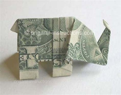 Elephant Money Origami - 25 awesome money origami tutorials diy projects for