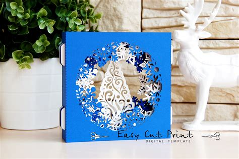 Snowflake Christmas Shadow Box Gift 3d Card Laser Cut Template Shadow Box Template