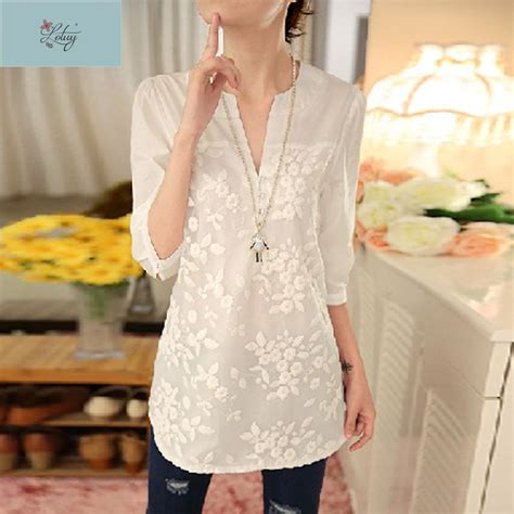 White V Neck Embroidered Top 3 aliexpress buy 2017 summer new korean white