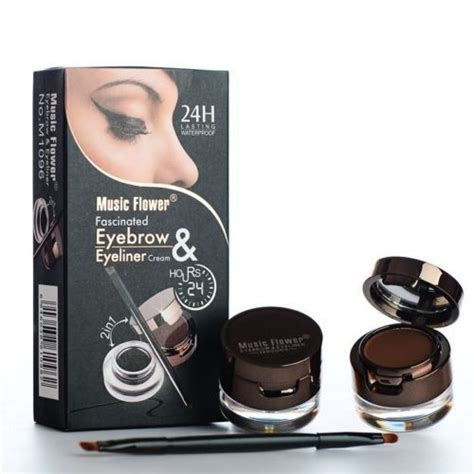Flower Eyeliner Powder Brown makeup kit 2in1 black brown waterproof eyeliner gel