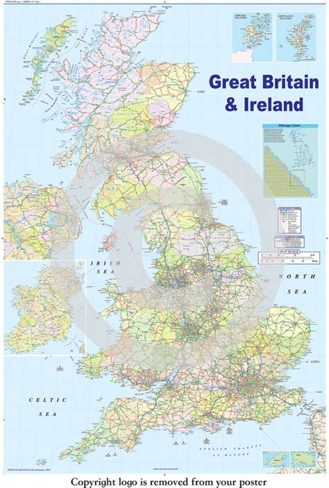 printable driving directions uk united kingdom gb road map poster