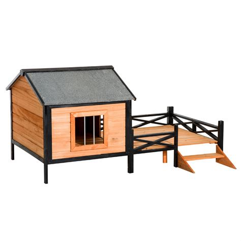 elevated dog house pawhut wood elevated dog house pet shelter weather resistant roof large kennel w