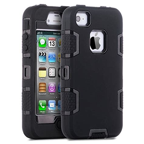 Apple Iphone 4 4s Rugged Shockproof Armor Hybrid Soft 2 iphone 4 iphone 4s ulak armor shockproof heavy duty combo hybrid defender high