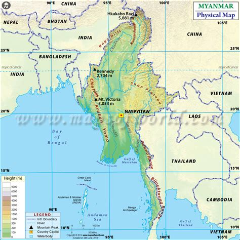 myanmar physical map physical map of myanmar