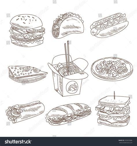 fast food doodle vector fast food doodle vector illustration sketch stock vector