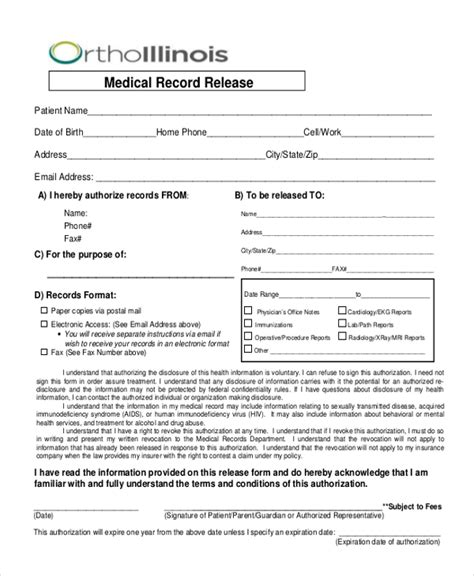 sle medical records release form 10 free documents