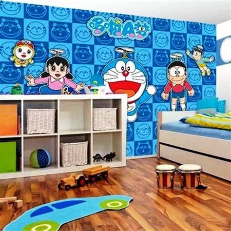 gambar wallpaper dinding kamar tidur anak motif doraemon