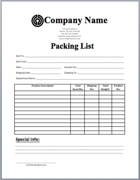 template for packing list packing list template templates packing
