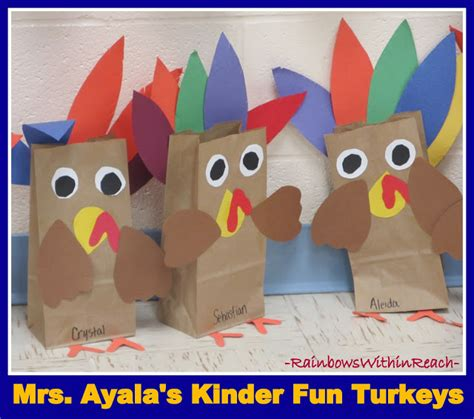 paper bag turkey craft www rainbowswithinreach