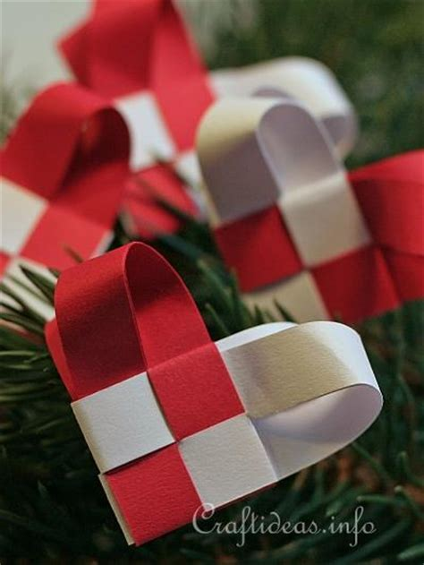 christmas paper craft woven paper christmas heart ornaments