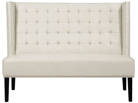 leather banquette bench halifax cream leather banquette bench from tov 63115