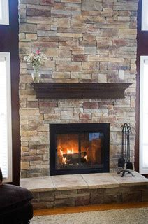 fireplaces rustic family room chicago  north