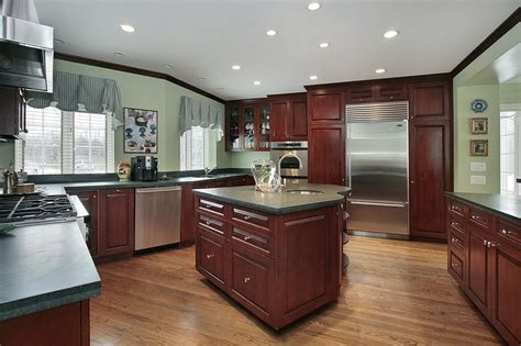 cherry cabinets with light counters kitchen pinterest 43 quot new and spacious quot darker wood kitchen designs