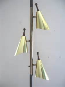 mid century modern brass cone tension pole l light