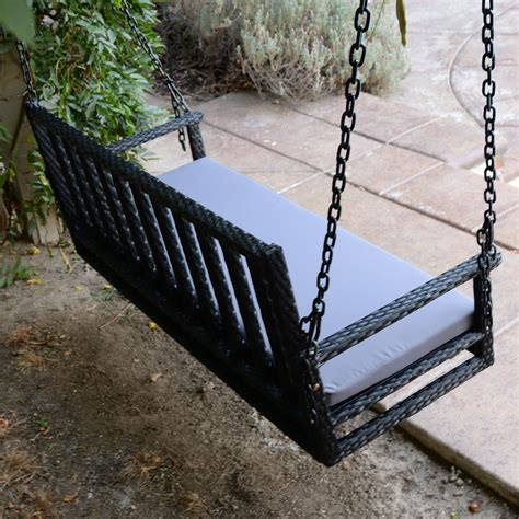 Patio Swing Hanger Black 60 5 Quot Patio Porch Swing Chair Resin Wicker Tree