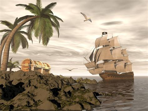 barco pirata aldi pirate ship finding treasure 3d render wall mural