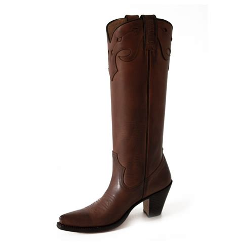 brown leather high cowboy boots western leather