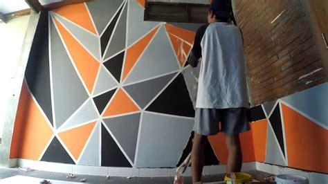 cara membuat wallpaper dinding 3d cara mengecat kamar dengan motif geometric youtube