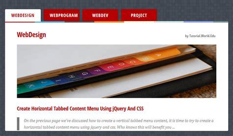 design menu using jquery create horizontal tabbed content menu using jquery and css