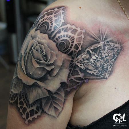 black diamond tattoo donna tx realistic rose and diamond tattoo by capone tattoo