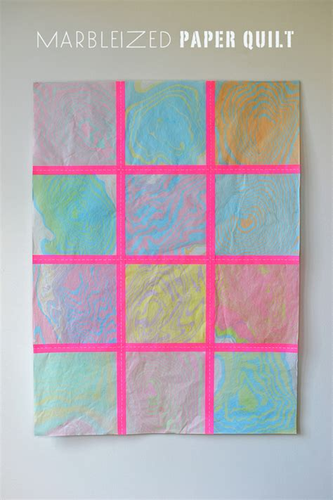 How To Make A Paper Quilt - marbleizing with diy marbleized paper quilt