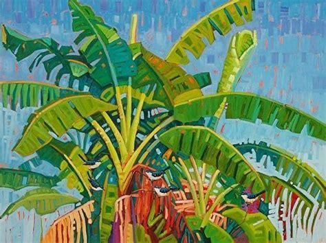 Kaos Banana World 12 Tx banana trees on blue rene wiley 36 x 46 inches by rene