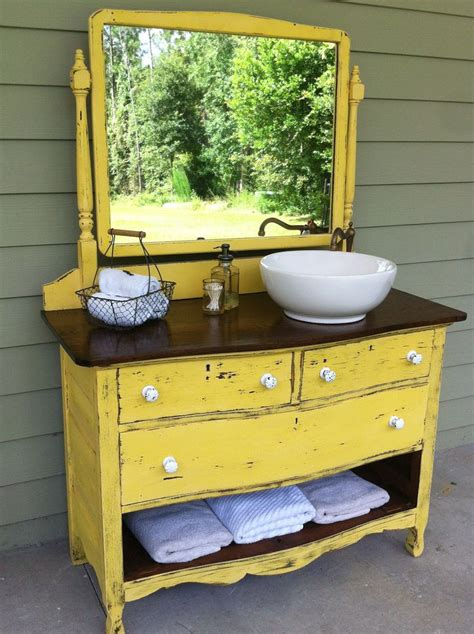 dresser turned sink vanity bathroom