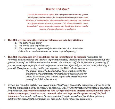 Sle Apa Format Template 6 Free Documents In Pdf Word Apa Writing Style Template
