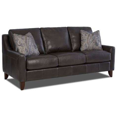 Klaussner Leather Sofa Klaussner Belton Leather Sofa With Track Arms And Fabric Pillows Olinde S Furniture Sofa