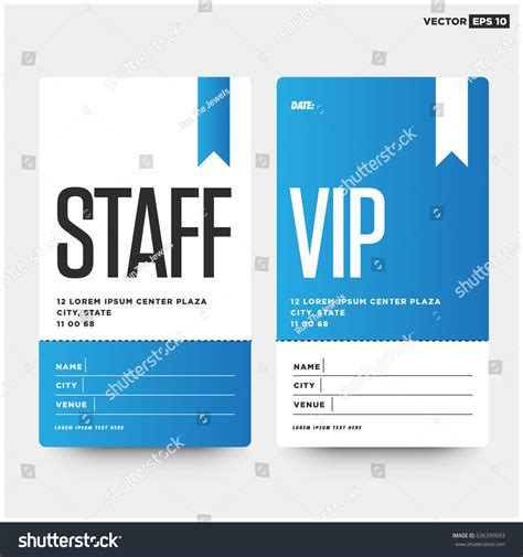 Staff Vip Entry Id Card Design Stock Vector 636399593 Shutterstock Id Card Template Card Vip Name Tag Template