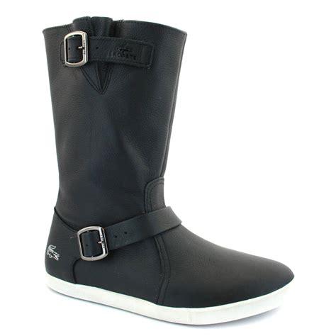 lacoste harini flat womens leather biker boots 7
