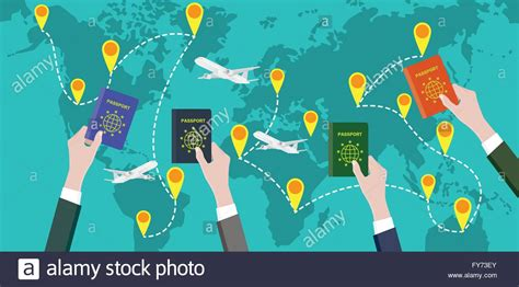 Traveling Around The World traveling around the world with passport stock
