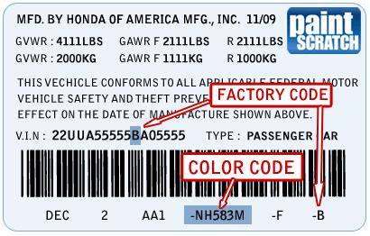 honda touch up paint color code and directions for honda paintscratch
