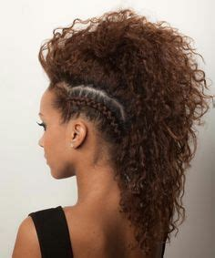 mohawks with tight human hair curls curly hair with shaved side rockin hair pinterest