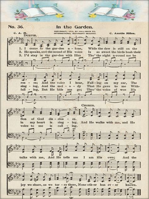 In The Garden Hymn Lyrics by Items Similar To In The Garden Note Cards Or Hymn Print