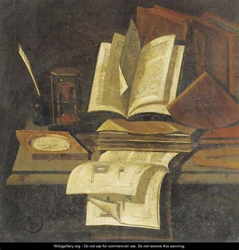 painting book books an hourglass a quill and ink pot and a compass on