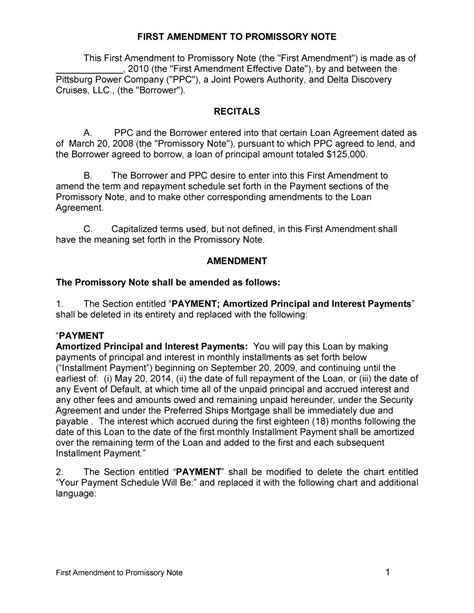 45 Free Promissory Note Templates Forms Word Pdf Free Template Downloads Amendment To Promissory Note Template