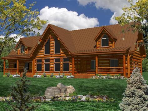log home design one story log home plans one story ranch style log home