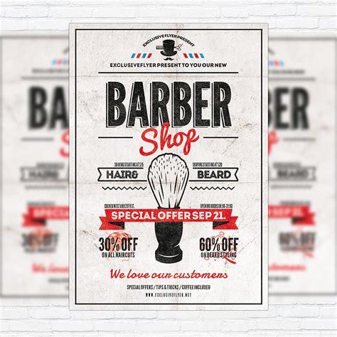 barber shop vol 2 premium flyer template facebook