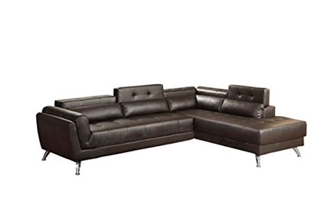 two piece sectional sofa in bonded leather espresso sofa product reviews buy poundex bobkona jolie bonded leather