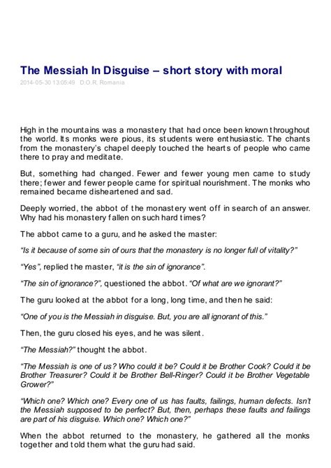 moral of new year story the messiah in disguise story with moral