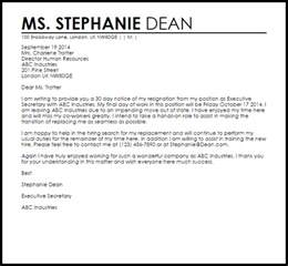 Resignation Letter Sle Uk by Resignation Letter With 30 Day Notice Livecareer