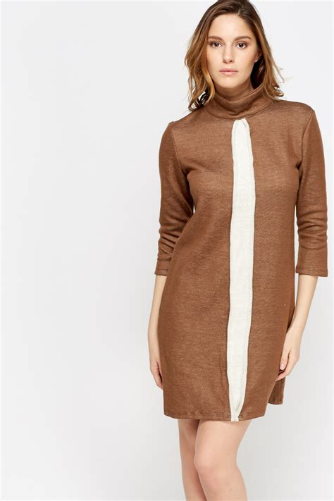 high neck colour panel knitted dress 4 colours just 163 5