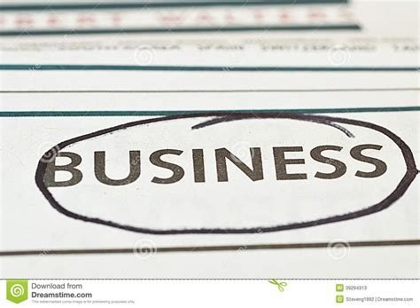 business section business newspaper stock photo image 39294313