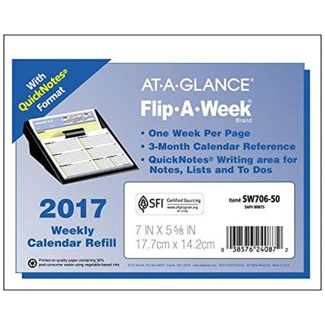 at a glance flip a week desk calendar and base at a glance flip a week weekly refill 2017 quick notes