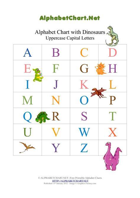 printable dinosaur alphabet dinosaur theme uppercase alphabet pdf chart alphabet