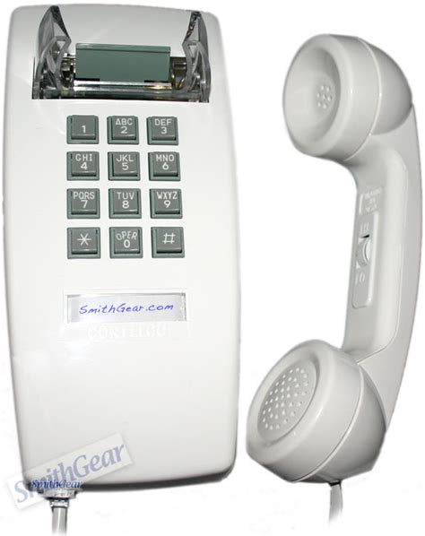 Cortelco Desk Phone by Cortelco 2554 White Wall Phone
